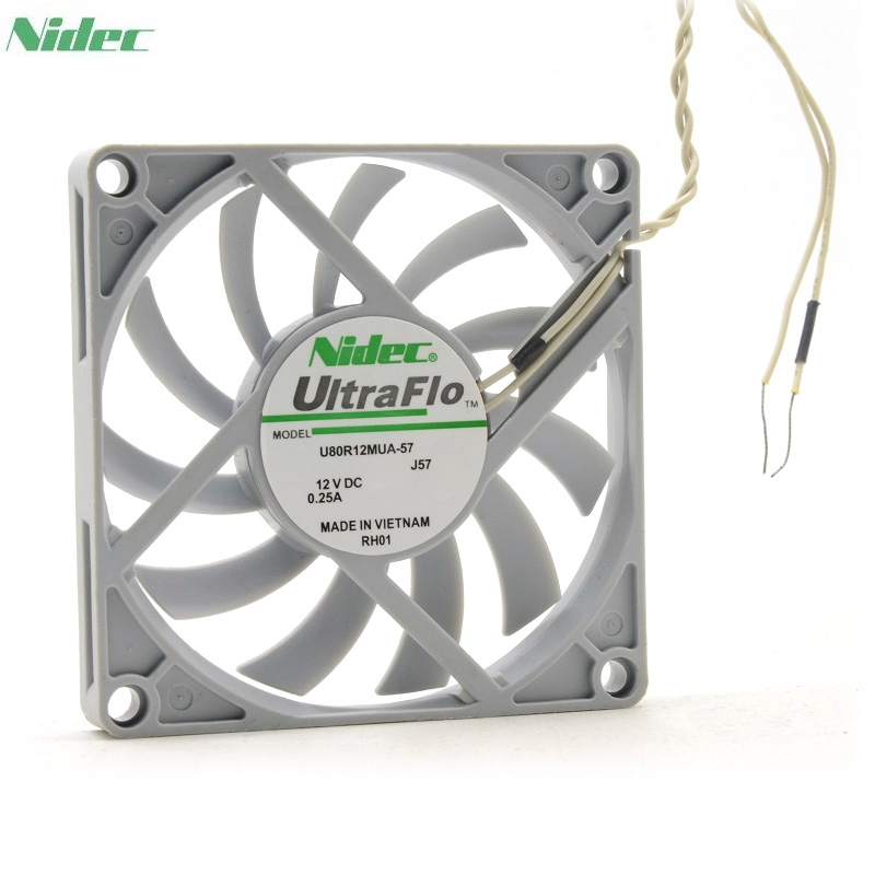 Orijinal Nidec U80R12MUA-57 UltraFlo 8010 80 MM 8 cm 80*80*10mm fan 12 V 0.25A Süper sessiz fan 2pin ile