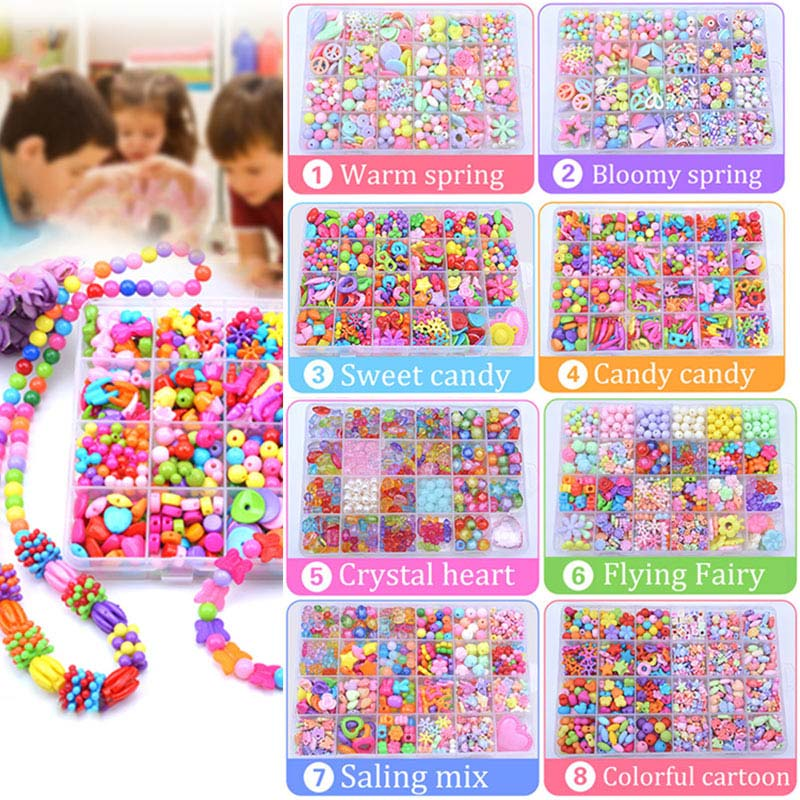 Children Amblyopia Candy Colors DIY Wear Beads for Bracelet Kids Toys Geometric Shape Personalized Jigsaw Puzzle 88 @ KQ
