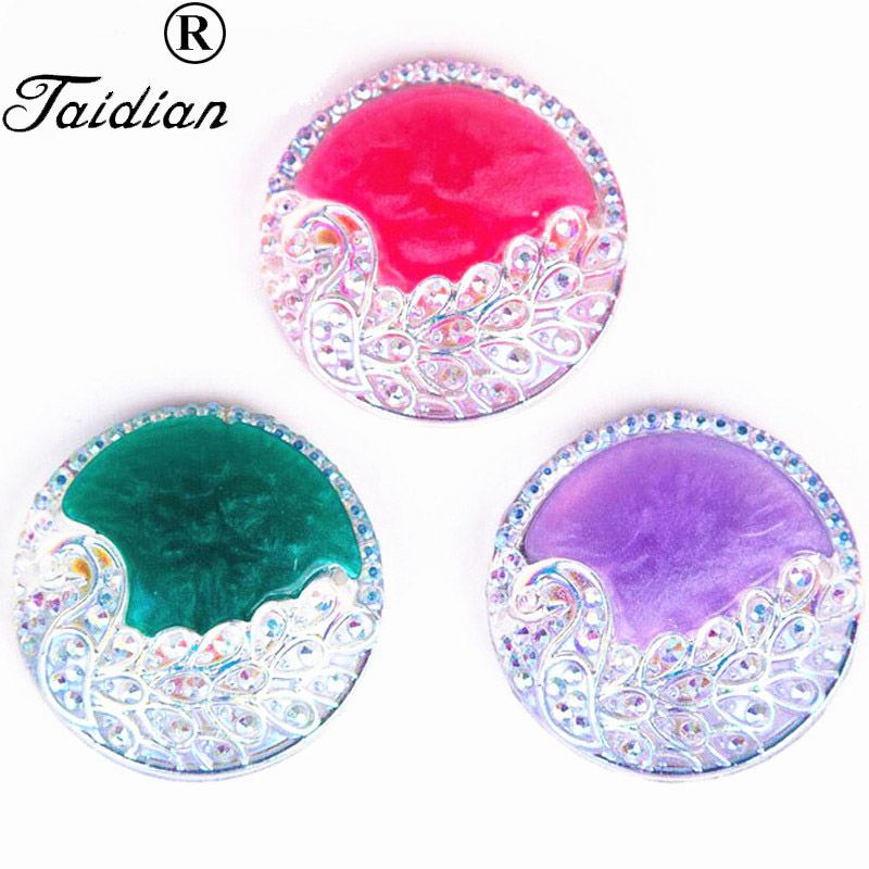 URORU Peacock Flatback Resin Sew-On AB Round Resin Cabochons Party Dress Accessories 50pcs/lot 25mm AM TAIDIAN