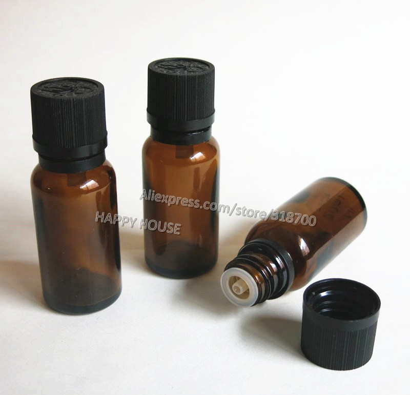 360 x 20ml Amber Glass Bottle with Tamper Evident Childproof cap, Glass Essential Oil Bottle with plastic lids